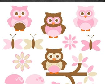 50% OFF Owls Clipart - Pink and Brown - Instant Download