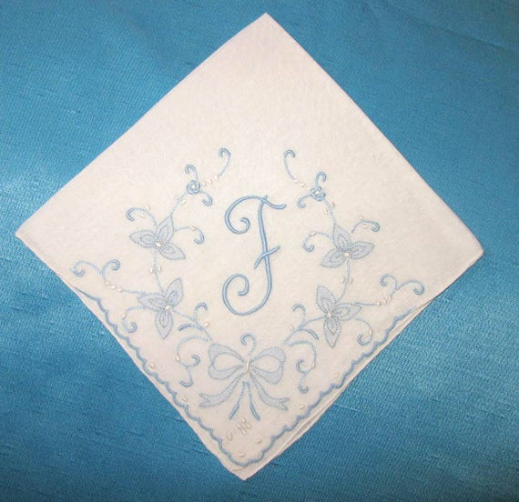 Initial handkerchief wedding embroidered f