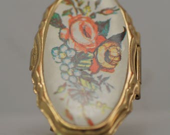 Vintage Mirror Ring Flowers Floral Hinged Costume Gold Tone Lipstick