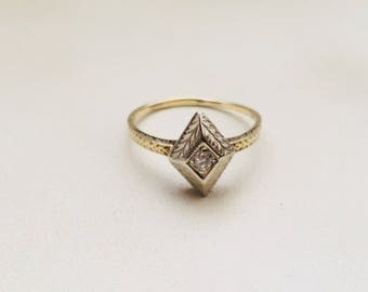 14K Diamond Victorian Etched Ornate Rhombus Kite Marquise White and Yellow Gold Old Mine Cut Engagement Promise Ring