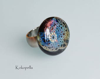 Lampwork beads, Ringtop drakeskin dichroic red, Artist bead, Ring attachment for stainless steel change - Desisgn by Kokopella