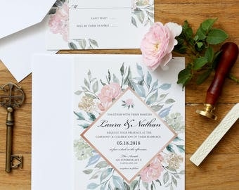 Wedding Invitation Suite - The Rosaline Collection - Classic Wedding Invitations - Floral Wedding Invitations- Summer Wedding Invitations