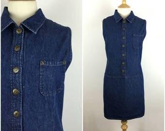 Vintage 1990s Denim Dress - 90s Dark Blue Button Down Dress - Shift Dress -  Medium / Large - UK 14-16 / US 10-12 / EU 42-44  -