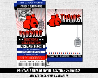 BOXING TICKET INVITATIONS Birthday Party Thank You Card Print Your Own Personalized Printable