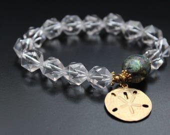 Rock crystal and Basha bead bracelet - Sand dollar charm bracelet - Lampwork bead bracelet - Imagine stamped charm - Boho gemstone bracelet
