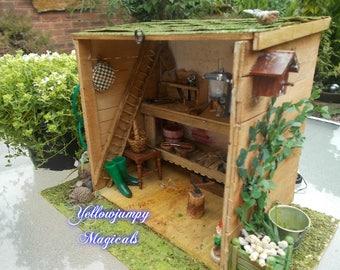 1/12th dollhouse miniature Garden Shed/Workshop unique handmade ooak SALE