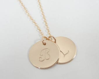 "SALE - Personalized Gold Filled Initial Necklace - Personalized Jewelry - Celebrity Style - Gold Filled Initial Necklace - 5/8"" Disc"