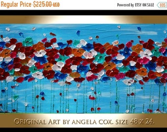 SALE Original Modern Multicolored Flowers  Heavy  Impasto  Acrylic Palette Knife   Painting. Size 48 x 24.