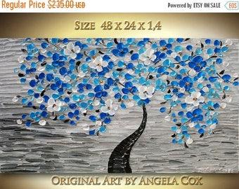 SALE Original  Modern Blue  White Blossom  Tree Acrylic Impasto Palette Knife Technique Landscape  Painting . Size 48 x 24 MADE2ORDER