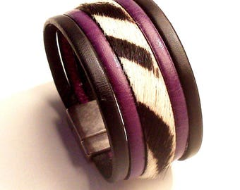 Zebra hair purple black leather cuff with silver clasp