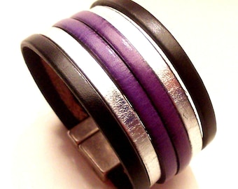 leather cuff black silver and purple with large 30mm magnetic clasp