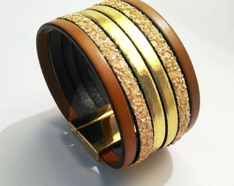 leather cuff Havana beige and gold with lobster clasp gold