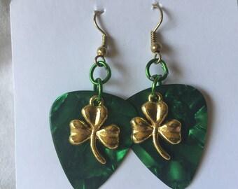 HC Swirling Dark Green Guitar Pick Earrings with Gold Toned Lucky Clover Pendants
