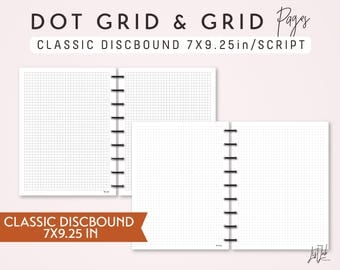 CLASSIC DISCBOUND Dot Grid and Grid Pages Set - Printable Discbound Planner Insert (7X9.25in) - Script Theme - fits Classic Happy Planner