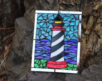 Small Stained Glass Lighthouse Mosaic on Mirror