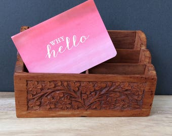 beautiful carved wooden mail letter holder / organizer