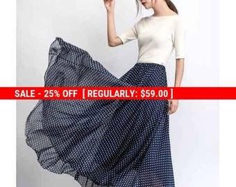Chiffon skirt, polka dot maxi skirt, floaty skirt, long skirt, wedding skirt, summer skirt, navy blue skirt, sheer skirt, swing skirt C475