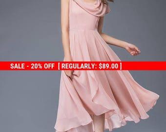 chiffon dress, dress, pink chiffon dress, midi dress, womens dresses, prom dress, fit flare dress, wedding dress, evening dress C943
