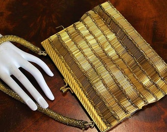 Vintage Hong Kong Gold Glass Seed Beaded Elegant Fancy Evening Purse LC1