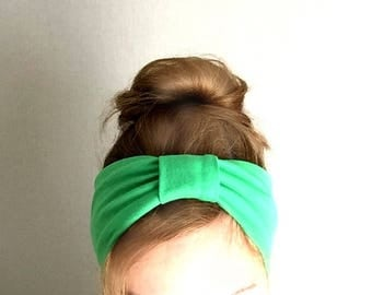 green turban twist headband Jersey knit tapered headband stretch turband yoga head band women teens head wrap top knot head band