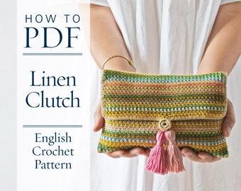 Linen Clutch, DIY PDF English Crochet Pattern, US terms - ready for immediate download - by CrochetObjet