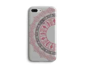 Ready To Ship - Tribal Iphone 7 plus case with clear back, Pink coral black Transparent, Stocking stuffer for teenaged granddaughter  (1743)