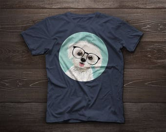Puppy Maltese portrait, cute Maltese tshirt, funny t-shirt, pet tee, dog tshirt, glasses