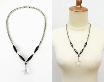 Black Onyx Stone Statement Necklace with Starfish Clear Crystal Swarovski