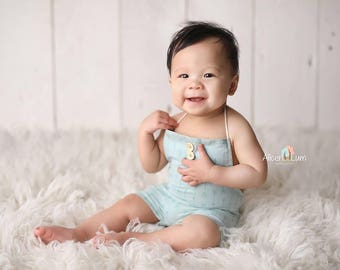 Sitter romper light sage green with arrows Photography prop Baby boy prop made in UK 6-12 months baby