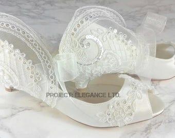 Ida- Ivory Lace Vintage Peep Toe, lace vintage tie, lace Mary Jayne Jane ribbon shoes, ribbon tie, vintage wedding, foot tie