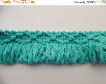 ON SALE Vintage, Loop, Brush, Trim, Edging, Turquoise, Edging, 100% Cotton, 13.33 Yards, 1970's