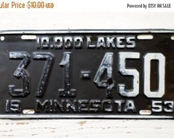 ON SALE 1953, Minnesota, License Plate, Embossed, 10,000 Lakes, Car, Truck, Black, Auto, Supplies, Destash, Numbers, Letters, Steel, Vintage