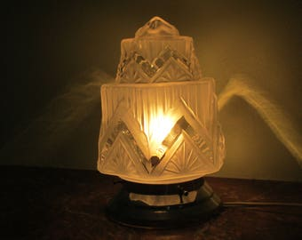 French Art Deco SKYSCRAPER Table Lamp OR Hanging Light Fixture - 1930s-Rich Sculptured Deco Details-Great Condition