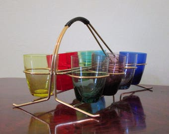 Set of 8 Multi Colored French Mid Century Shot Glasses with their Original Caddy - Glasses are in Good Vintage Condition - Happy Holidays!