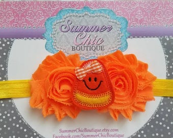 Candy Corn Headband, Thanksgiving Headband, Fall Headband, Baby Headband, Orange Baby Headband, Infant Headband, Newborn Headband, Halloween
