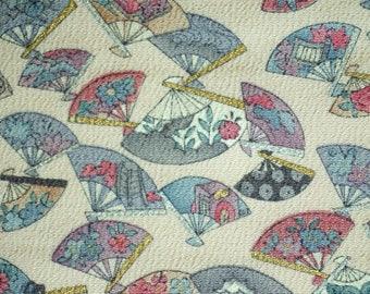 Folding Fan Vintage Japanese Tango chirimen silk kimono fabric