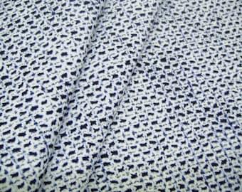 Rare Kanoko shibori Vintage Japanese indigo cotton yukata fabric. Vintage kimono fabric