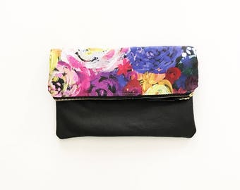 Hot Pink Floral Leather Fold Over Clutch