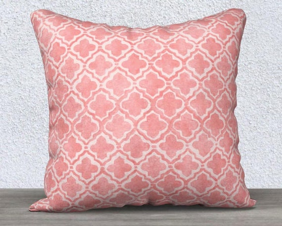"Blush Accent Pillow Cover with Moroccan Pattern, 14""x20"", 18""x18"""