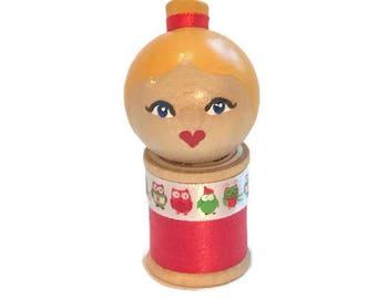 Winter Doll: Vintage Wood Spool.