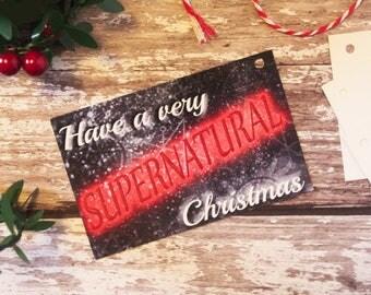 A Very Supernatural Christmas, Supernatural, SPN family, Seasons Greetings, Supernatural Christmas,  Hanging Tags, Holiday Tags, Gift Tags