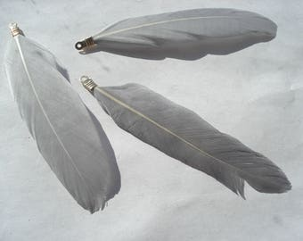 85mm Natural Dyed Goose Feather Pendants, Gold Plated Gray Pendants, Pack of 4 Pendants, C193