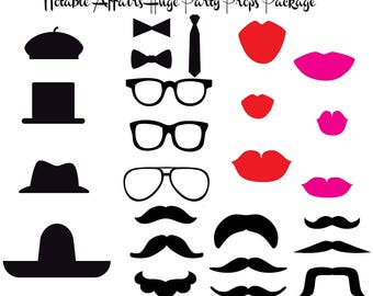 INSTANT DOWNLOAD 26 Mustaches Lips Hats Glasses Bow Ties -For photobooths photo booths fauxtobooths Party Props Pack Shower Birthday Wedding