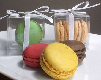 Clear Favor Boxes - Macaron Favor Boxes, Macaroon Favor Box, Wedding Favor Boxes, Gift Boxes, Favor Boxes with Lids - 2 x 2 x 2 - Set of 25