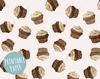 Digital Paper - Printable Gift Wrapping Paper - Wrapping Paper - Cupcakes