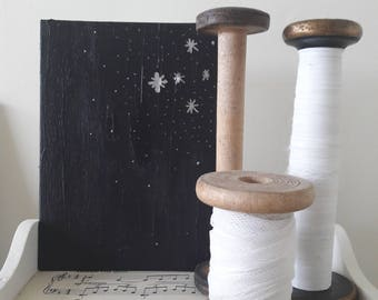 Stars painting, original art, star art, acrylic painting, night sky, small painting, bedroom decor, nursery decor, looking up, celestial