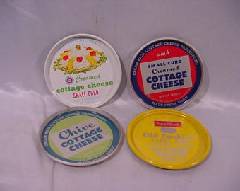 4 Cottage Cheese Advertising Tops (Coasters) all from Wisconsin