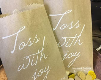 Confetti Toss Bags Recycled Paper Wedding Favor Bags - Flower Petals, Confettti, Birdseed Toss Favor Bags, Pkg of 25 Toss With Joy