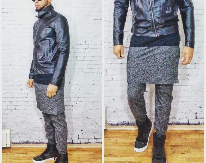 Mens Overlay Jogger Kilt inspired Rick owens dsqaured designer sweatpant EDC festival harem skirt men Pant in (Darker) Heather Textured Grey