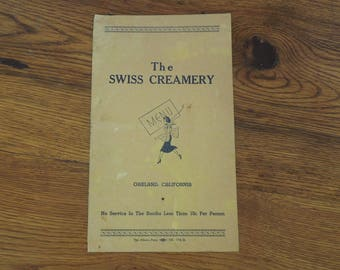 Vintage Menu 1940's The Swiss Creamery Oakland California